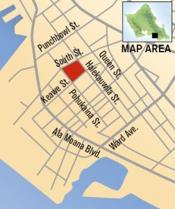 This map shows the location of Stanford Carr Development's planned 600-unit mixed-use project in Kakaako.