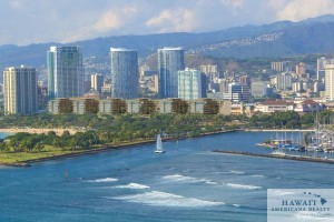This rendering shows the six ultra-luxury condominium buildings planned for a portion of Ala Moana Center. The project will have a total of 215 units, according to a building permit filed with the City and County of Honolulu.
