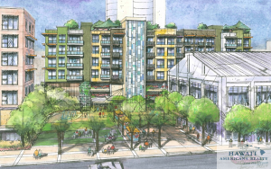 This rendering shows a workforce housing complex being developed by Castle & Cooke Homes Hawaii and Kamehameha Schools in the Honolulu neighborhood of Kakaako. Courtesy Kamehameha Schools