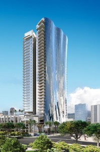 The Howard Hughes Corp. has reached contractual agreements for about half of the 482 units in its two ultra-luxury high-rises in Honolulu's Kakaako neighborhood— Anaha and Waiea, seen here in this rendering.