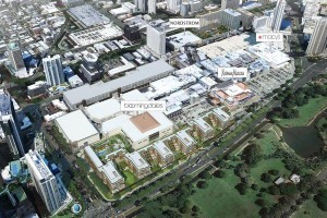 This diagram over an aerial photograph of Ala Moana Center provided by developers The MacNaughton Group, Kobayashi Group and BlackSand Capital shows where a group of ultra-luxury condominiums, as well as a new Bloomingdale's store, will be built.