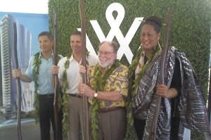 Officiating at the Waiea condominium groundbreaking were, from left, David Striph and David Weinreb of the Howard Hughes Corp., Gov. Neil Abercrombie and Kumu Hina Wong-Kalu.