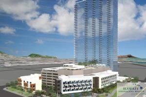 This rendering shows The Collection, A&B Properties' planned 466-unit mixed-use condominium project it plans to build on the former CompUSA site in Honolulu's Kakaako neighborhood.
