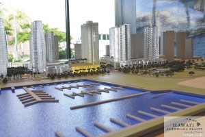 This model in the Howard Hughes Corp. office previews the future look of the Kakaako skyline.