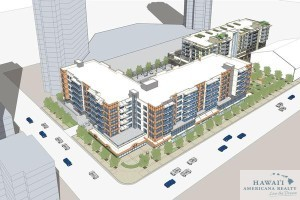 "A rendering of one of several ""Our Kakaako"" residential projects in the growing Honolulu neighborhood."